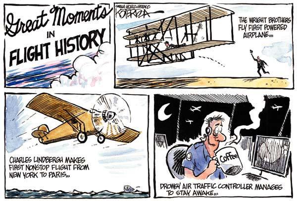 Будни авиадиспетчеров глазами карикатуристов: братья Райт отдыхают