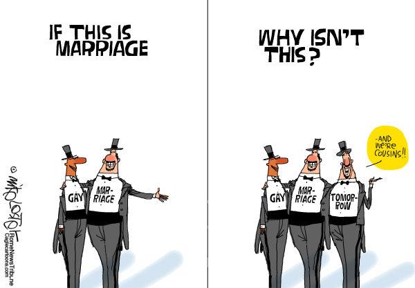 Художники-карикатуристы о легализации однополых браков: чем больше народу, тем веселее