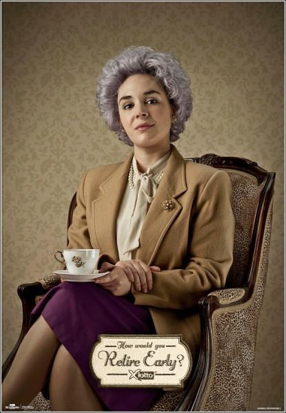 Новоиспеченная пенсионерка: оригинальная реклама лотереи