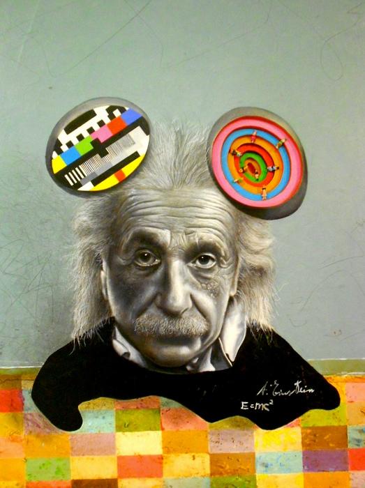 Знакомые все лица в стиле поп-арт: Альберт Эйнштейн с мышиными ушами