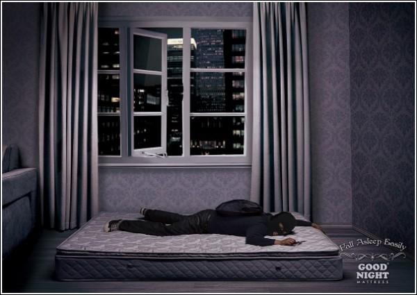 Оригинальная реклама матрасов: уставший вор