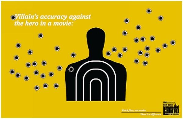 Меткость злодея из киношки, стреляющего в главного героя: оригинальная реклама кинофестиваля