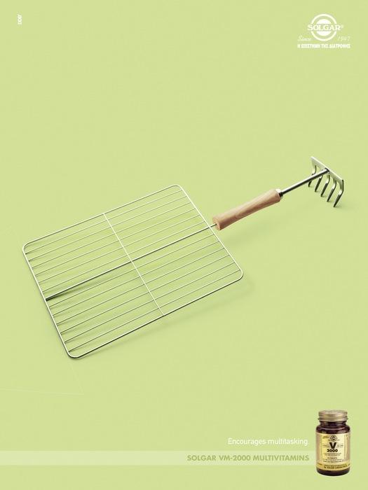 Грабли + гриль: забавная реклама витаминов