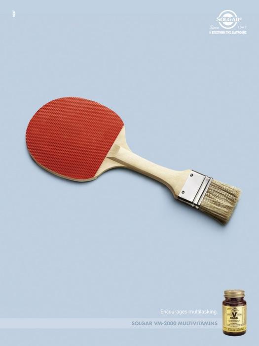 Ракетка + кисть: забавная реклама витаминов