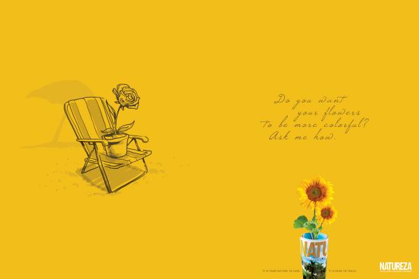 Креативная журнальная реклама: цветы на отдыхе