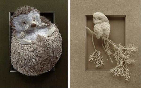 Бумажные животные Кэлвина Николлса: еж и сова