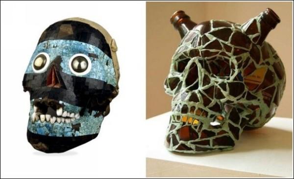 Арт-черепа древнего бога солнца Тецкатлипоки и современного простого смертного