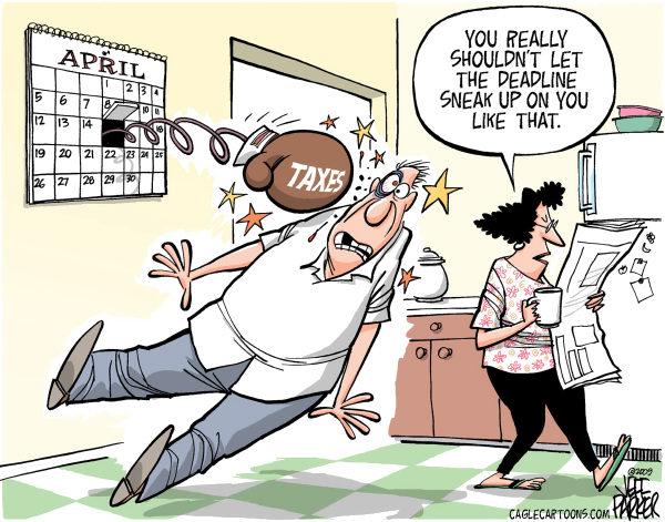 Креатив американских карикатуристов: 15 апреля подкралось незаметно