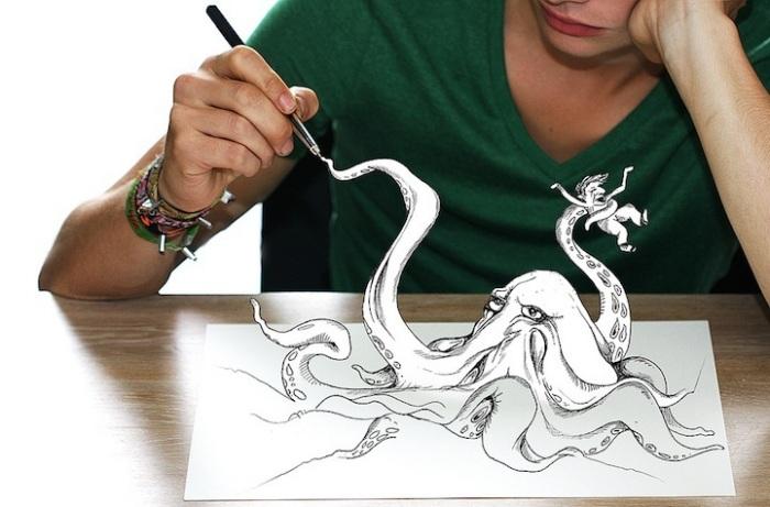 Фоторисунки Бена Гувертса и Максима Писсена: осьминог на кончике пера