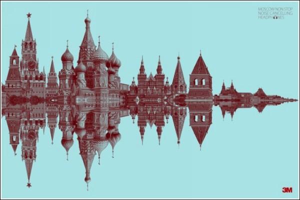 Оригинальная реклама наушников: Москва