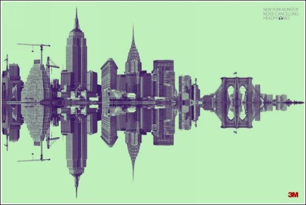 Оригинальная реклама наушников: Нью-Йорк