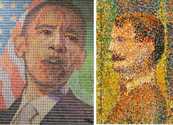Картины П. Мейсона (из марок) и Ж. Сёра (в технике пуантилизма)
