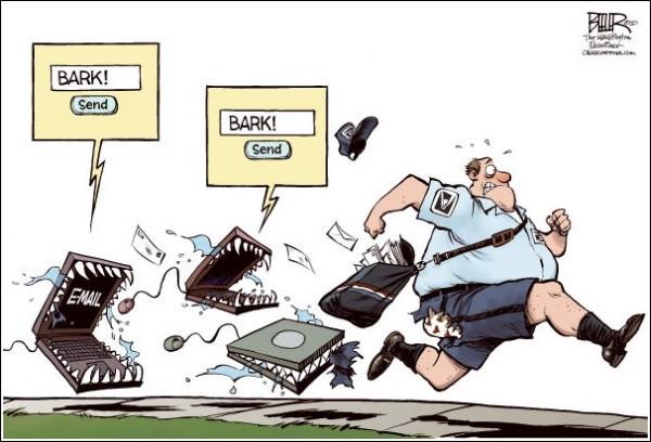 Карикатуры на тему почты в век Интернета: hot-dog-mail