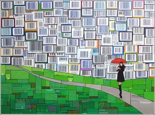 Мозаичные картины Майкла Свира: искусство утилизировать картон и жесть