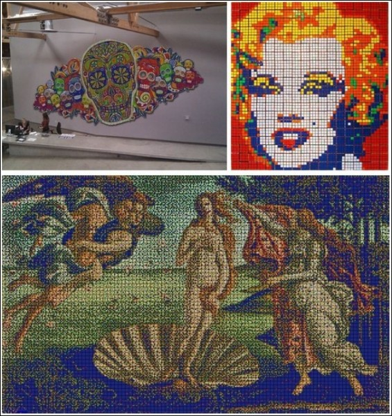 Мозаика из кубиков Рубика: необычные картины студии Cube Works