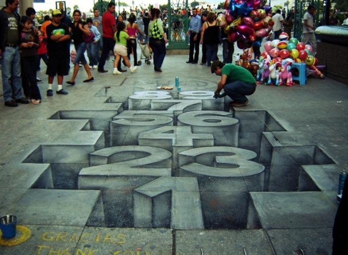 Игра в классики: рисунки мелом на асфальте