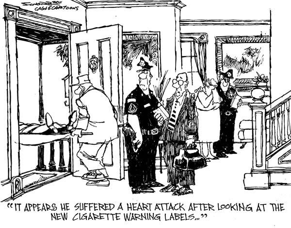 Художники-карикатуристы о картинках на пачках сигарет: удар от классики