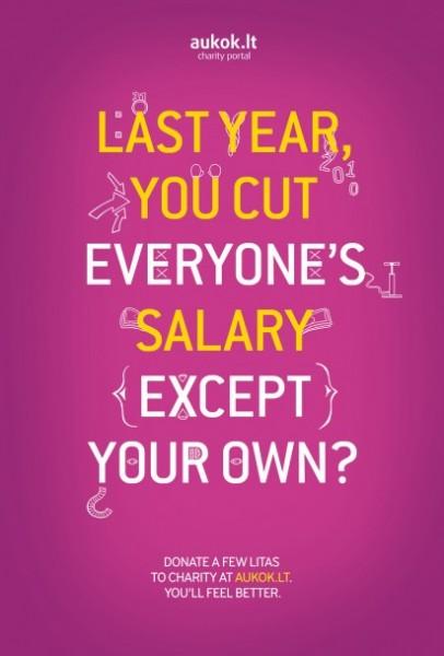 «В прошлом году вы урезали зарплату всем, кроме себя?» Благотворительный сайт творит чудеса!