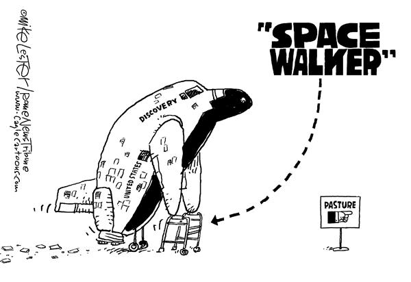 Карикатуристы о сворачивании программы шаттлов: гигантский скачок в ходунки