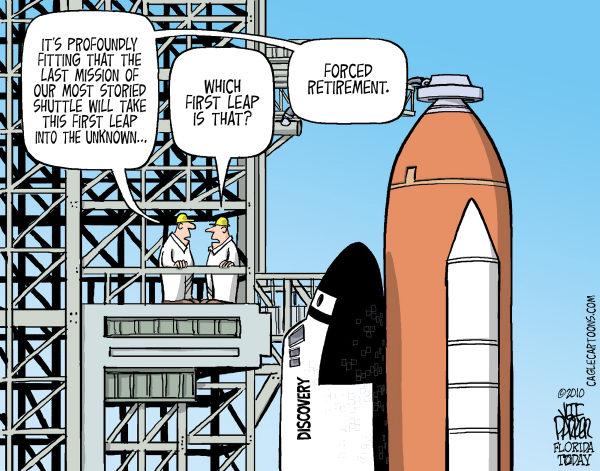Карикатуристы о сворачивании программы шаттлов: гигантский скачок в неизвестность