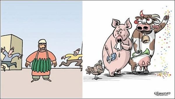 Этюд в зеленых тонах: зарубежные карикатуристы об испанских огурцах