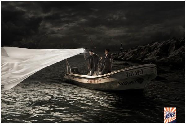 Креативная реклама порошка для стирки: рыбалка