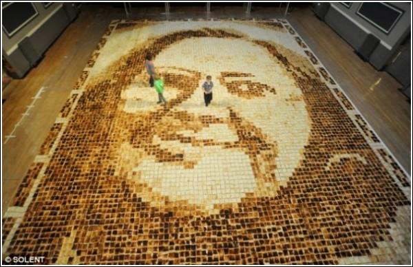 Съедобная мозаичная картина в цифрах: 9 тостеров, 40 помощников, 6 часов работы