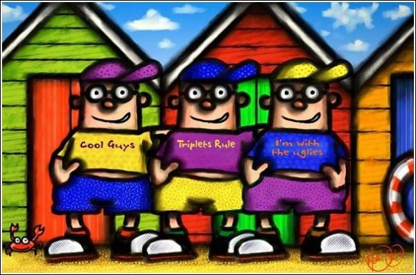 """Цифровая живопись Скотта Хендерсона: """"Тройняшки, которые не знали, что значит слово """"однояйцевые"""""""