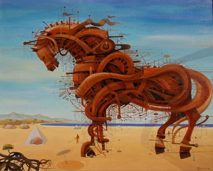 Механический конь: масляная живопись Васко Ташковского