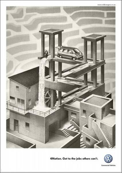 Черно-белая реклама «Фольксвагена»: «Водопад»