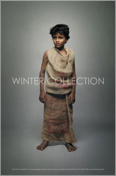 «Зимняя коллекция»: одежда из мешковины