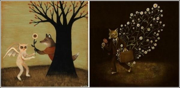 Мягкие и вкрадчивые работы привлекают внимание, а затем оказывается, что это глубокие и удивительно интересные картины