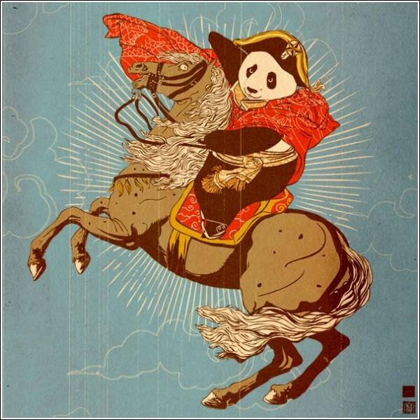 Революционная красная панда в треуголке
