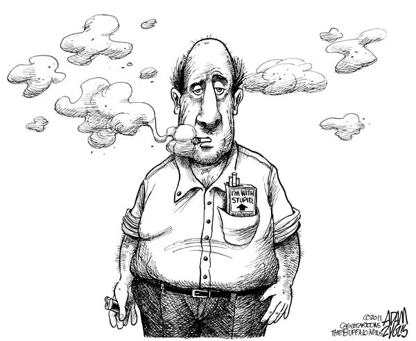 Художники-карикатуристы о картинках на пачках сигарет: *Я с дураком*