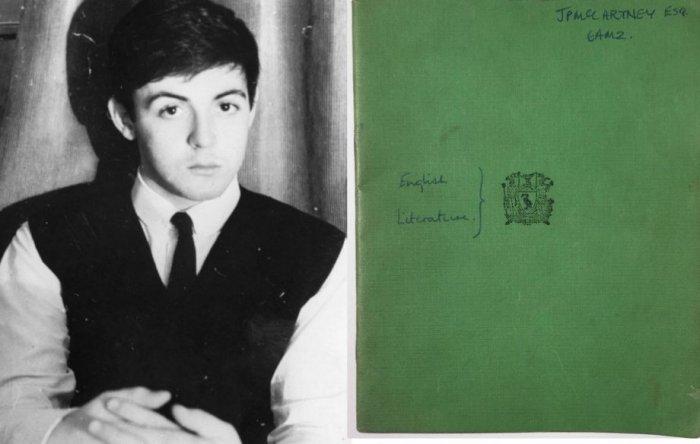 Школьная тетрадь Пола Маккартни выставлена на аукцион за 10 тыс. фунтов стерлингов