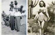 21 ретро снимок людей около экзотических гигантских кактусов