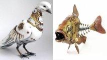 Птицы, животные и насекомые: впечатляющие скульптуры, выполненные в стилях стимпанк и киберпанк