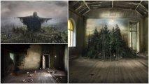 Тревожные пейзажи: сюрреалистическая серия работ на пересечении живописи и фотомантажа