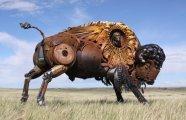 Ковбои, лошади, быки: потрясающие скульптуры из металлолома и старых деталей сельхозтехники