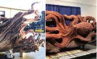 Скульптор с бензопилой превратил упавшее дерево в гигантского осьминога
